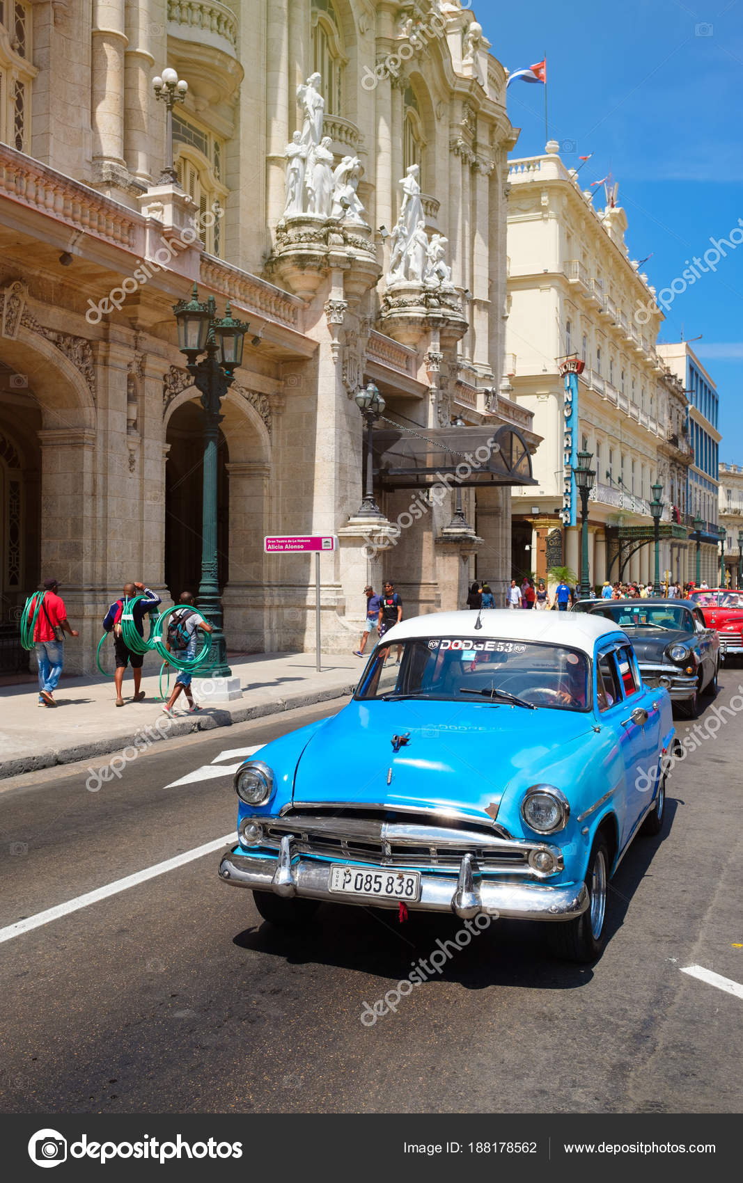 Classic cars next to the Great Theater and famous hotels in Old ...
