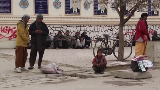 Unidentified Afghan people in the city centre of Mazar-i-Sharif, North Afghanistan, in 2018