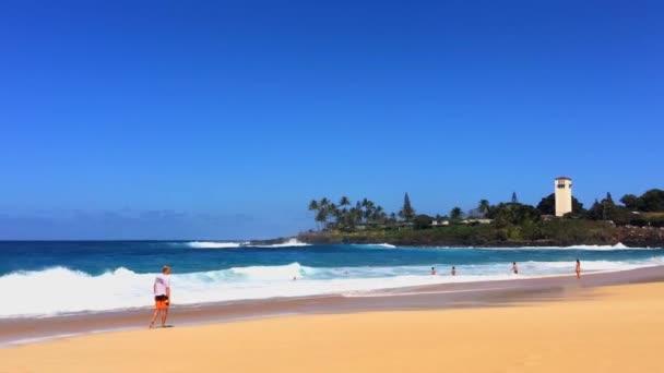 Gyönyörű kilátás nyílik a Csendes-óceáni hullámok közelében Hawaiian