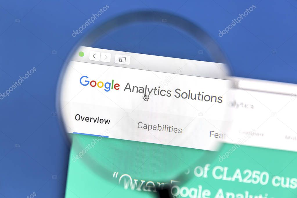 Google Analytics website under a magnifying glass