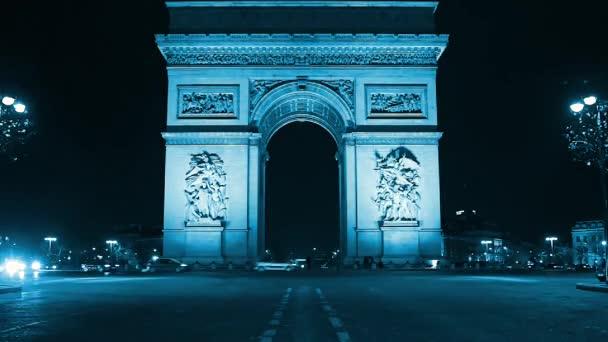 Paris, France - November 12, 2016: Traffic around Arc de triumph and the Champs Elysees.