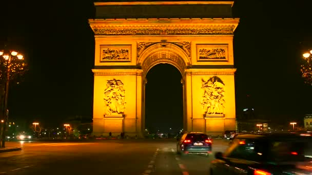 Paris, France - November 12, 2016: Traffic around Arc de triumph and the Champs Elysees.