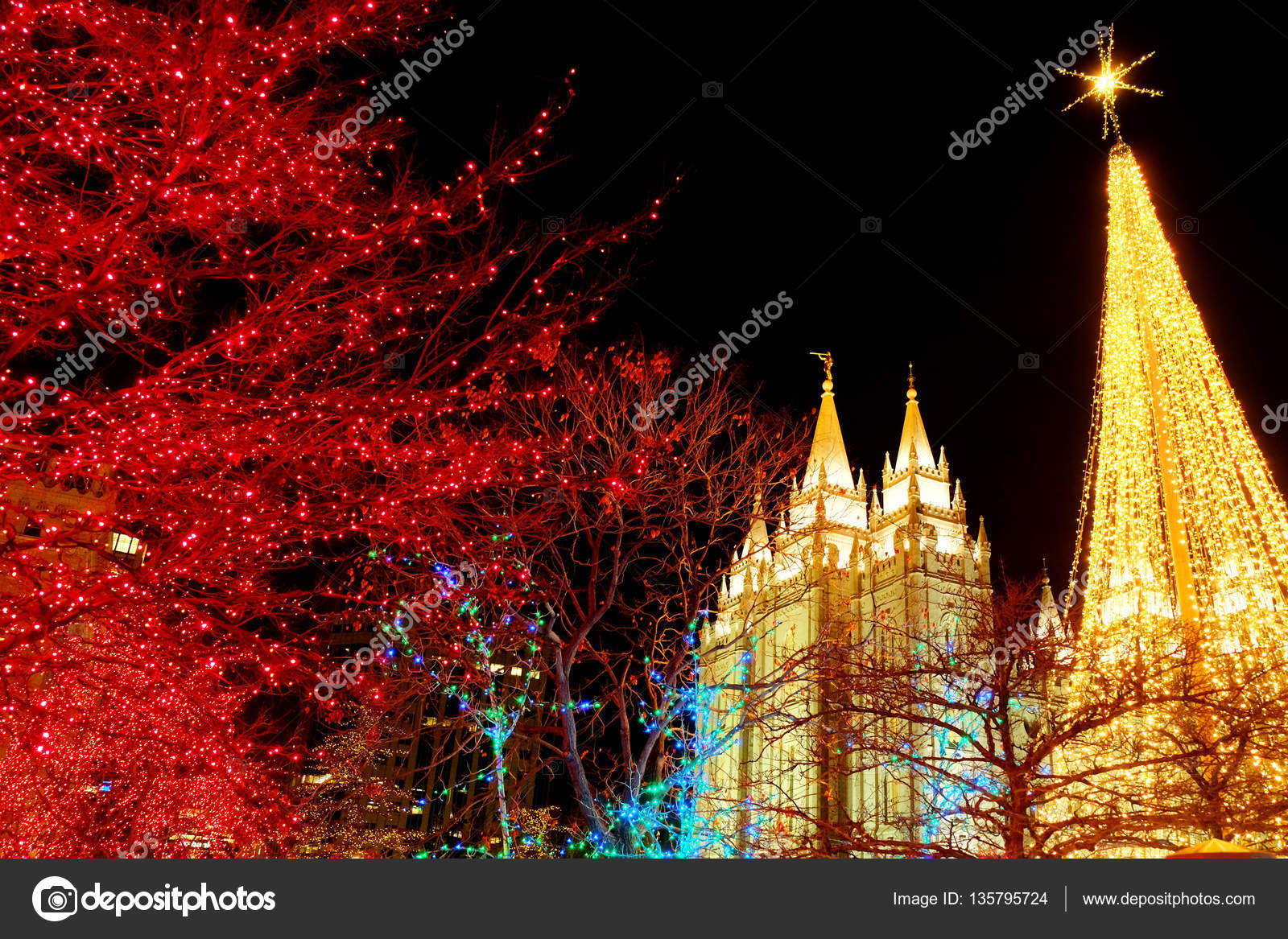 Temple Square Salt Lake City Utah With Christmas Lights U2014 Stock Photo