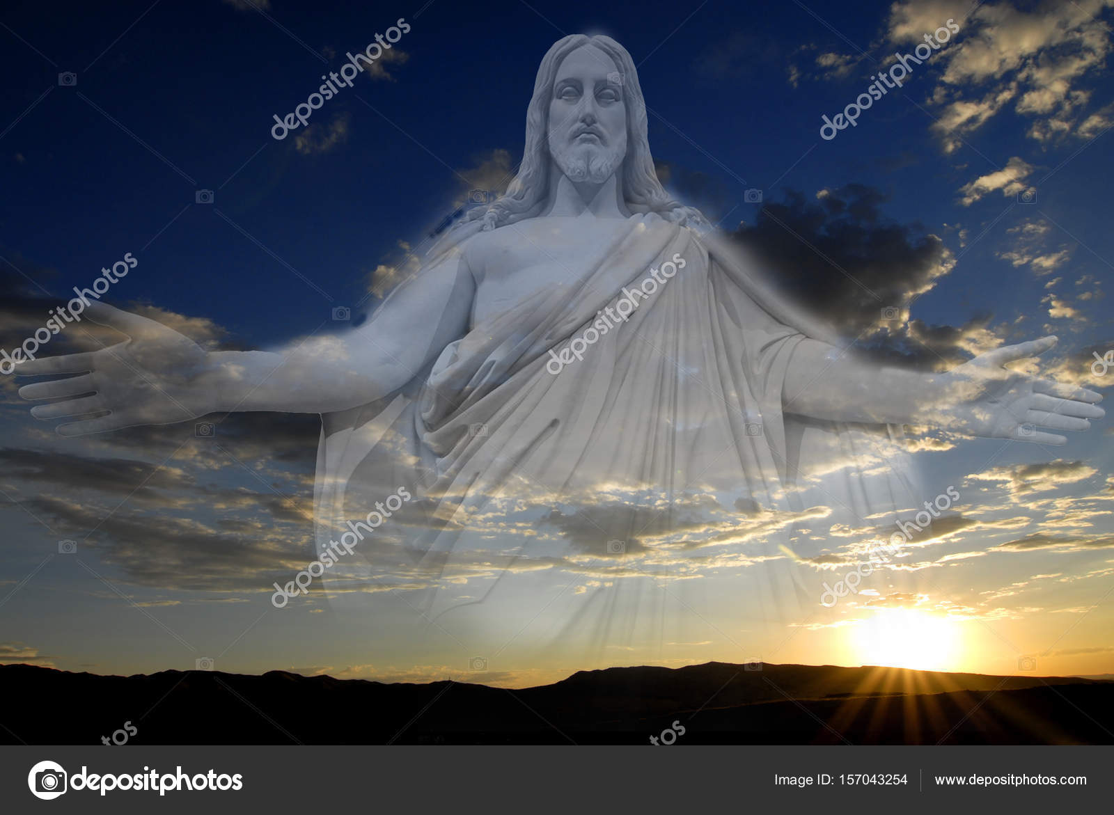 Jesus Sunset Peaceful Creations Sky And Clouds Stock Photo