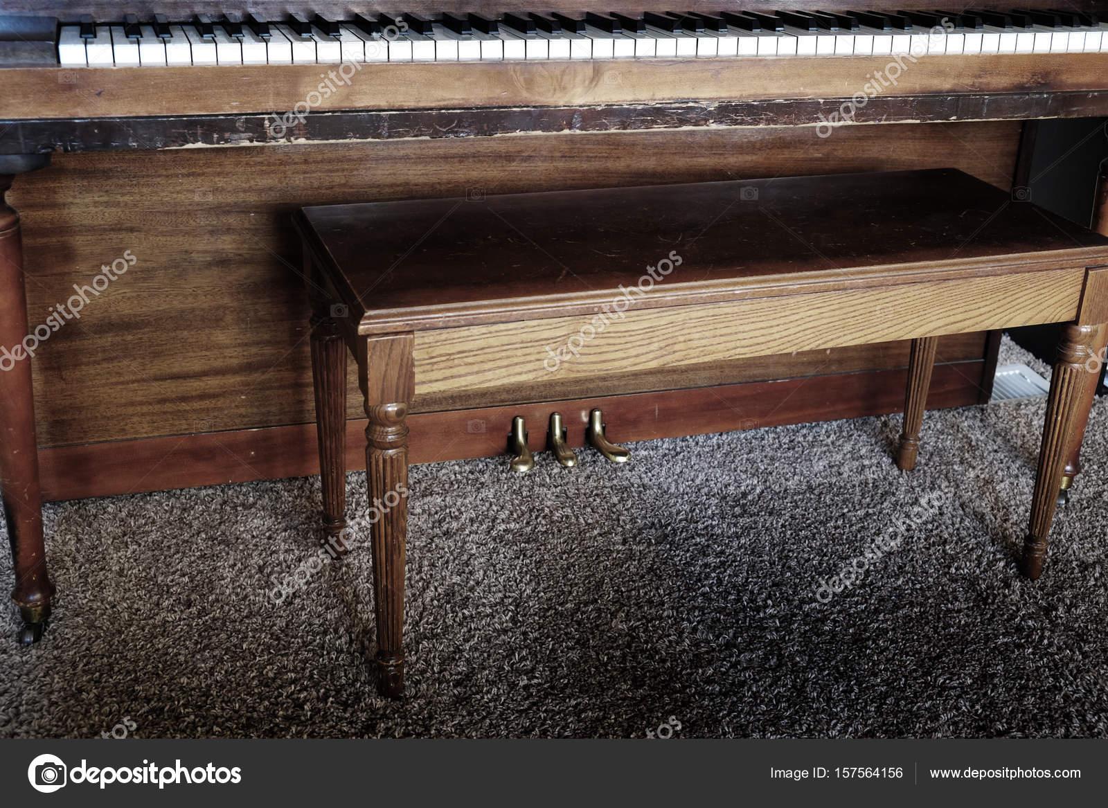 old piano with bench keys ivory ebony — stock photo © eric1513