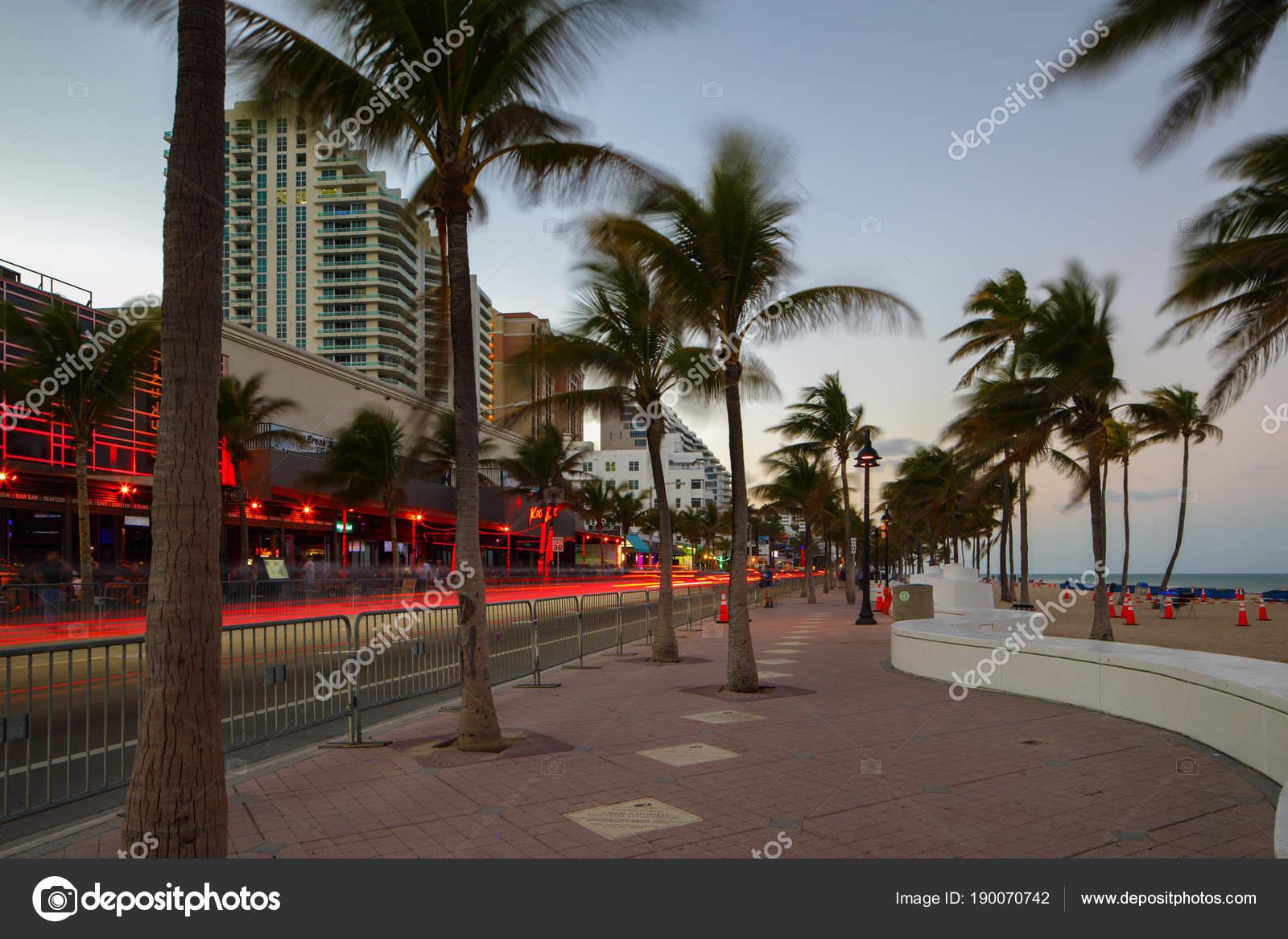 Fort Lauderdale Beach Walk Restaurants Spring Break 2018 Stock