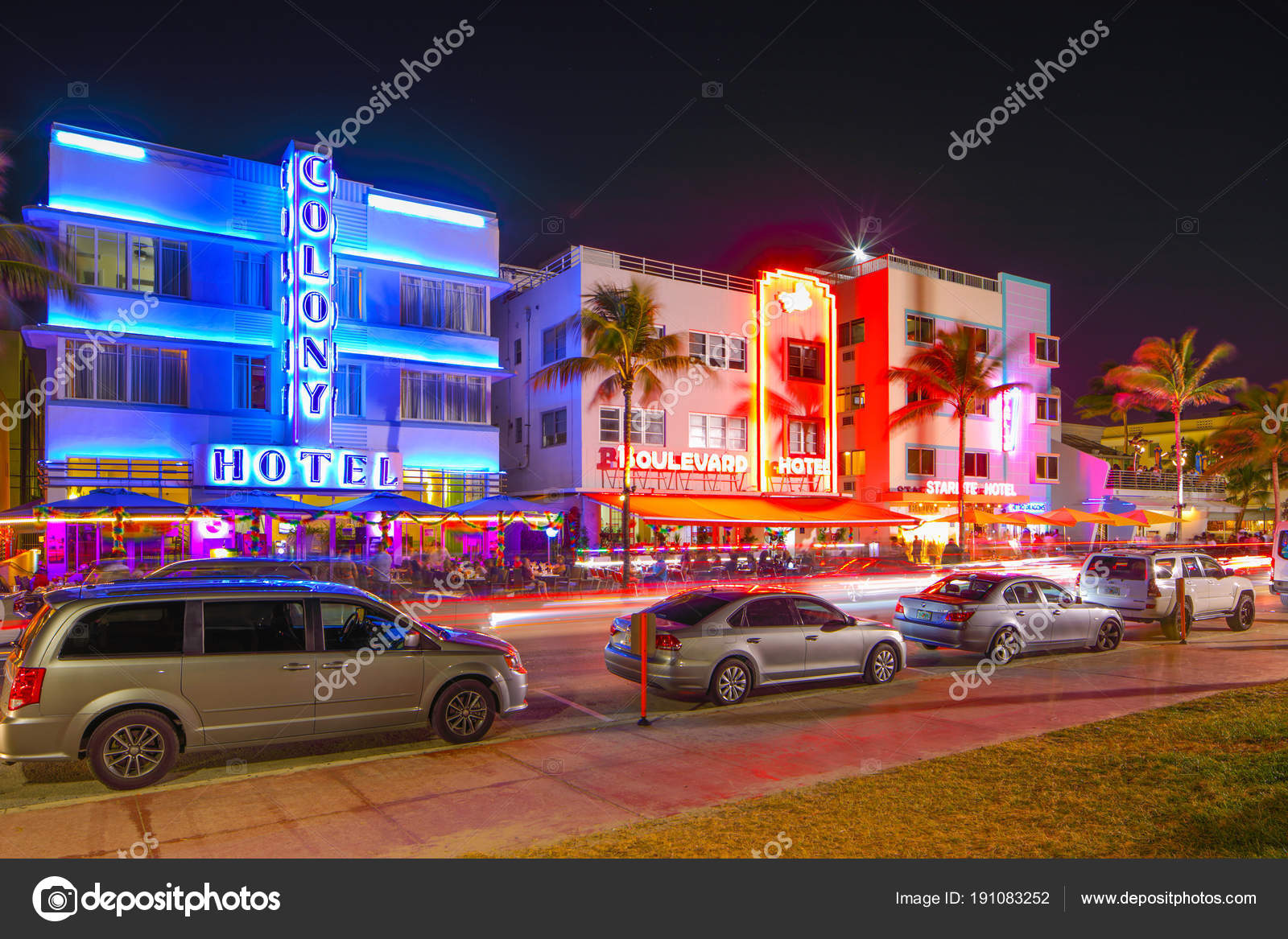 Colony Hotel Miami Beach Ocean Drive Stock Editorial Photo