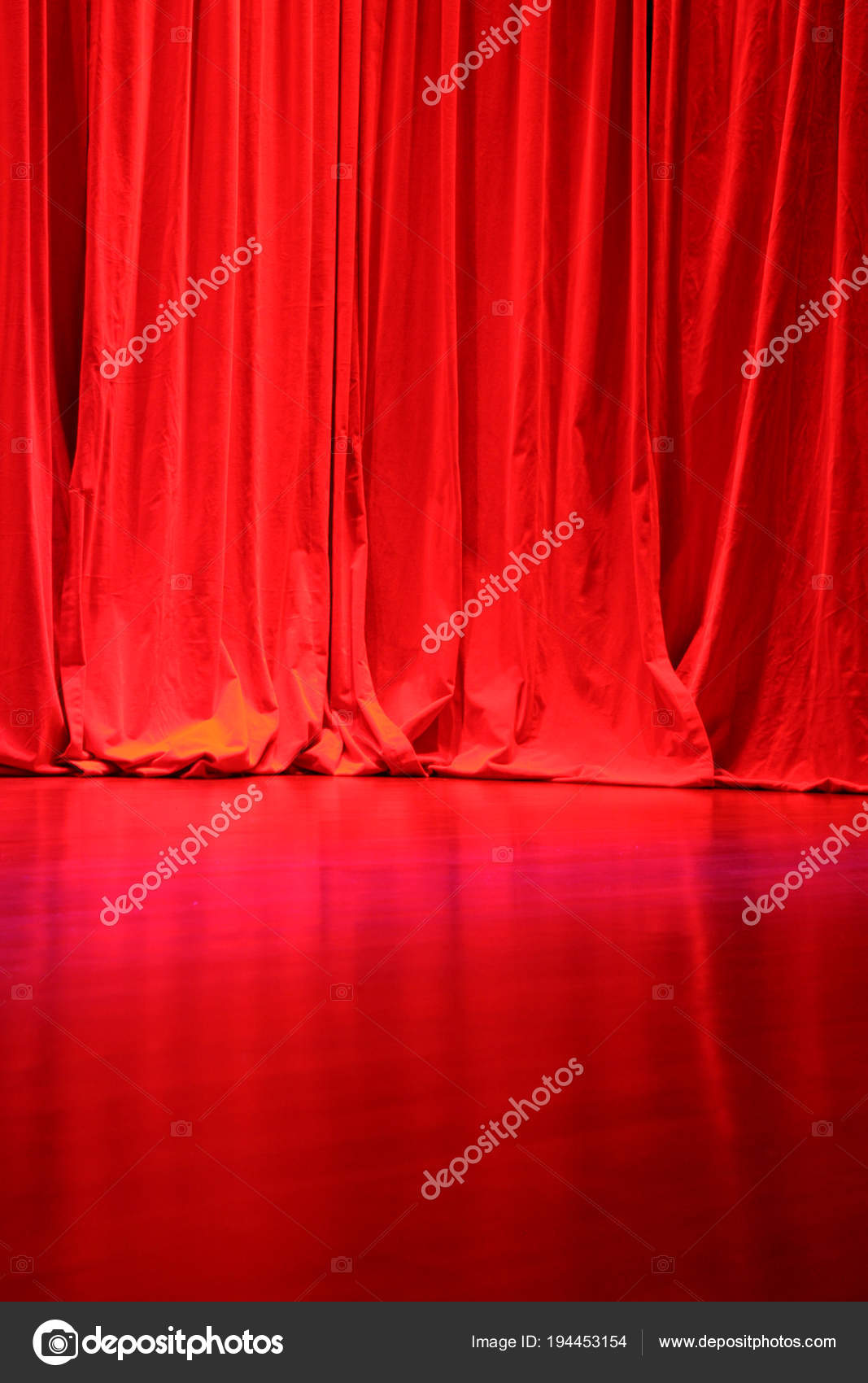 Red Velvet Stage Curtains Stage Floor Stock Photo C Surpasspro