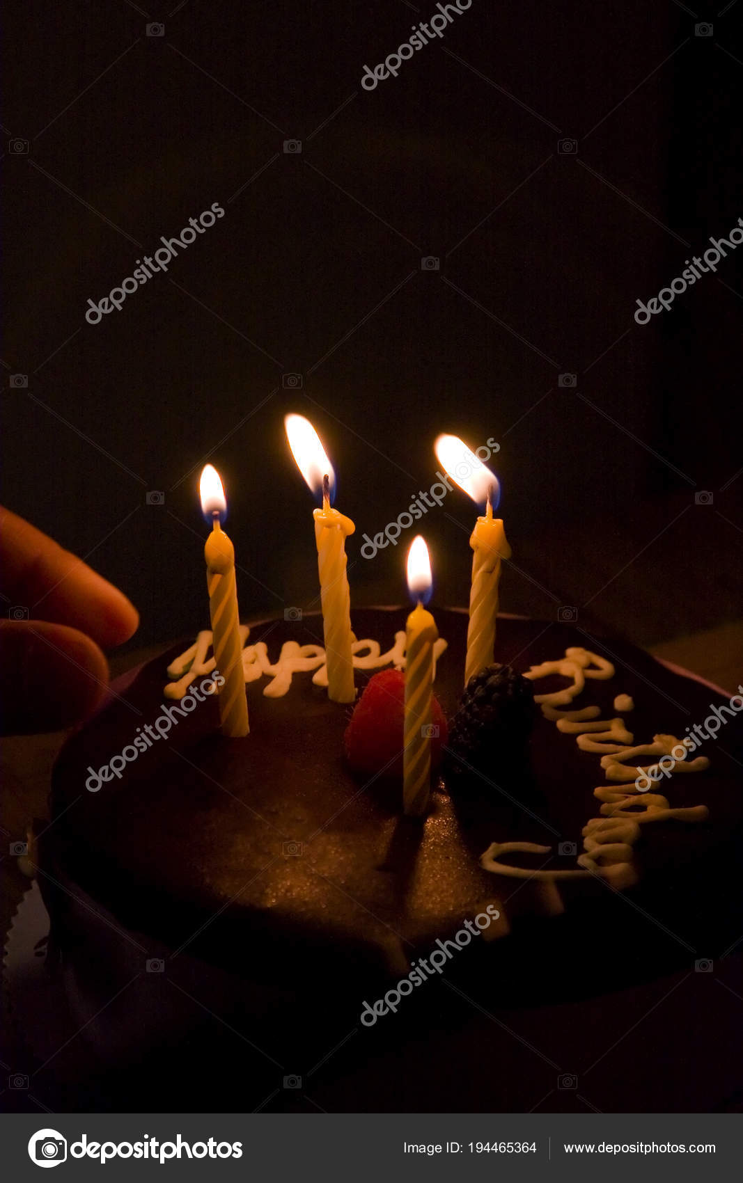 Happy Birthday Cake Burning Candles Stock Photo Surpasspro