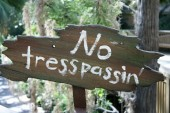 No Trespassing Sign close up shot