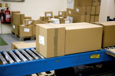 Packages on a Conveyer Belt Ready for Shipment