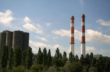 Industrial Factory with Large Chimneys