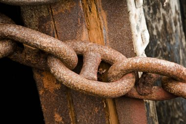 Secure Rusty Chains on a Ship Dock