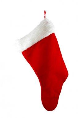 Hanging Christmas Stocking Isolated on a White Background