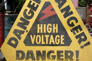 High Voltage Sign close up shot