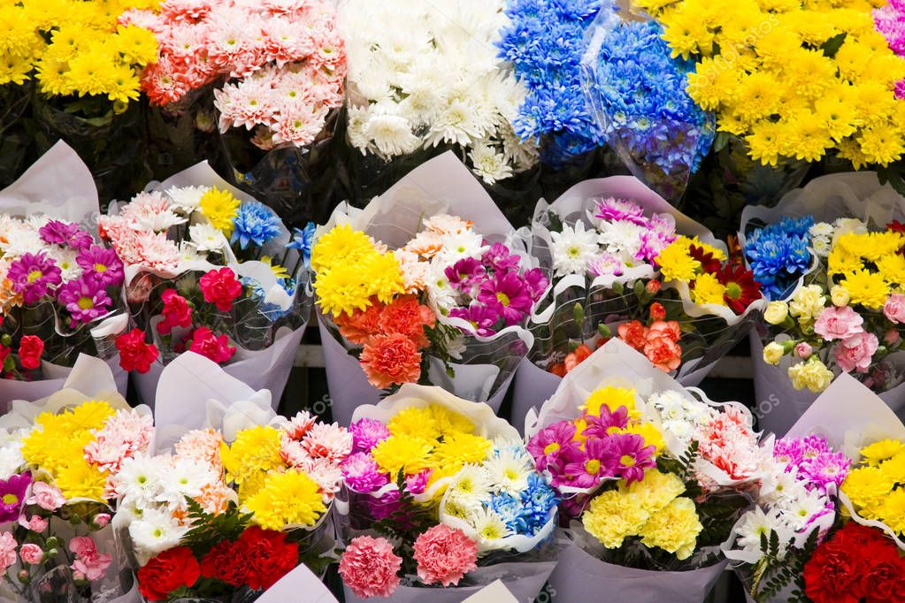 Assortment of Colorful Flower Bouquets