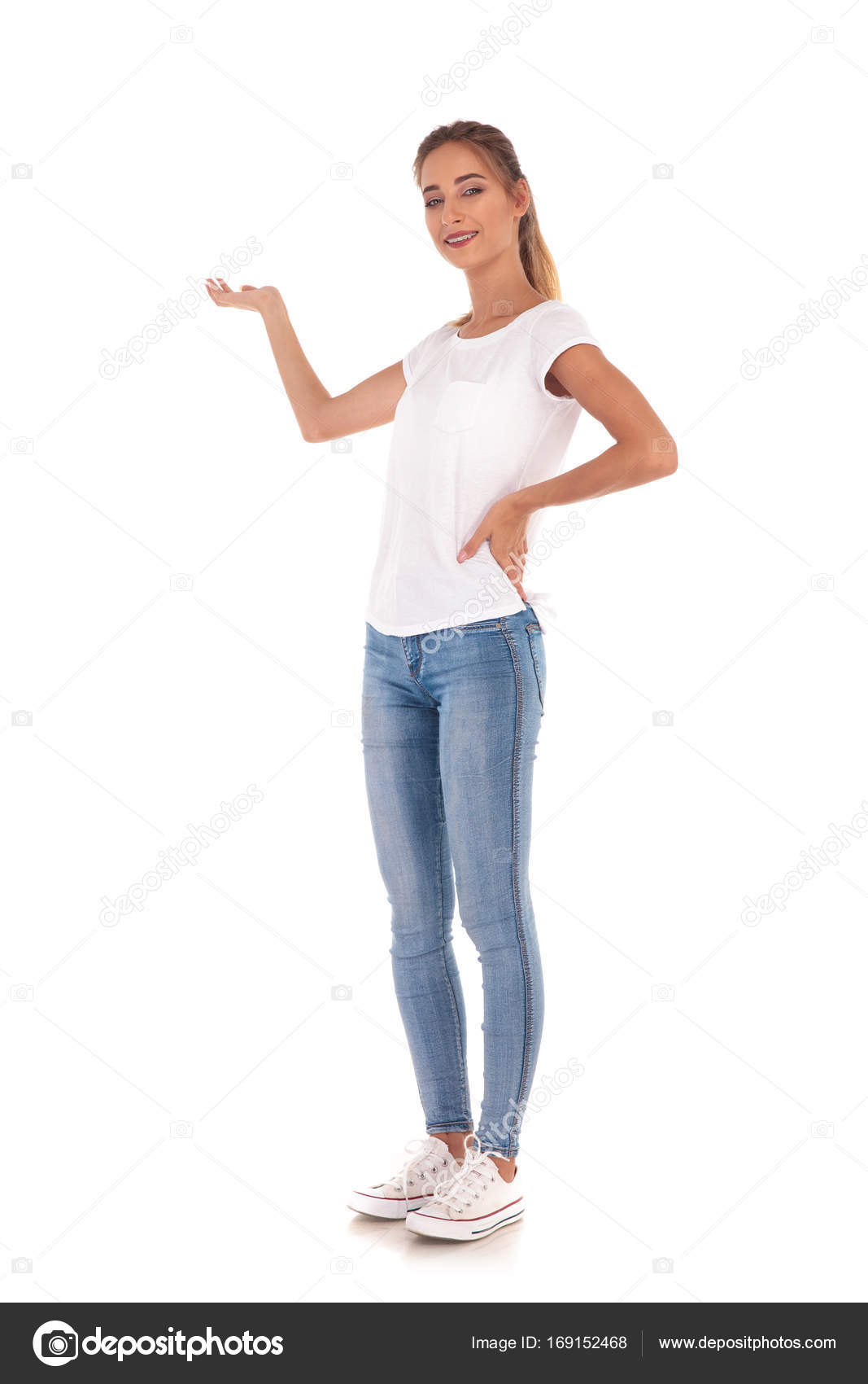 Full pic girl Full Body Picture Of A Young Casual Woman Presenting Stock Photo By C Feedough 169152468
