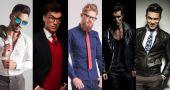 5 különböző férfiak pózol stúdió