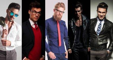 5 different men posing in studio, collage image stock vector