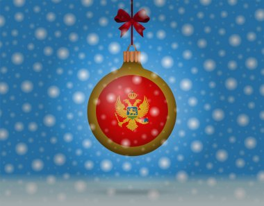 snowfall and snowball with flag of montenegro