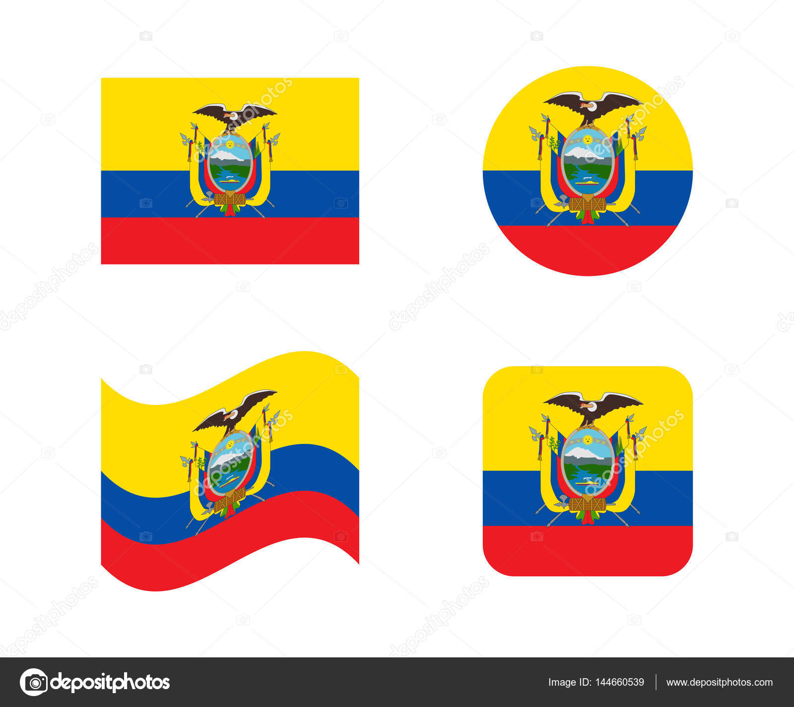 Set Flags Of Ecuador Stock Vector Noche - Ecuador flags