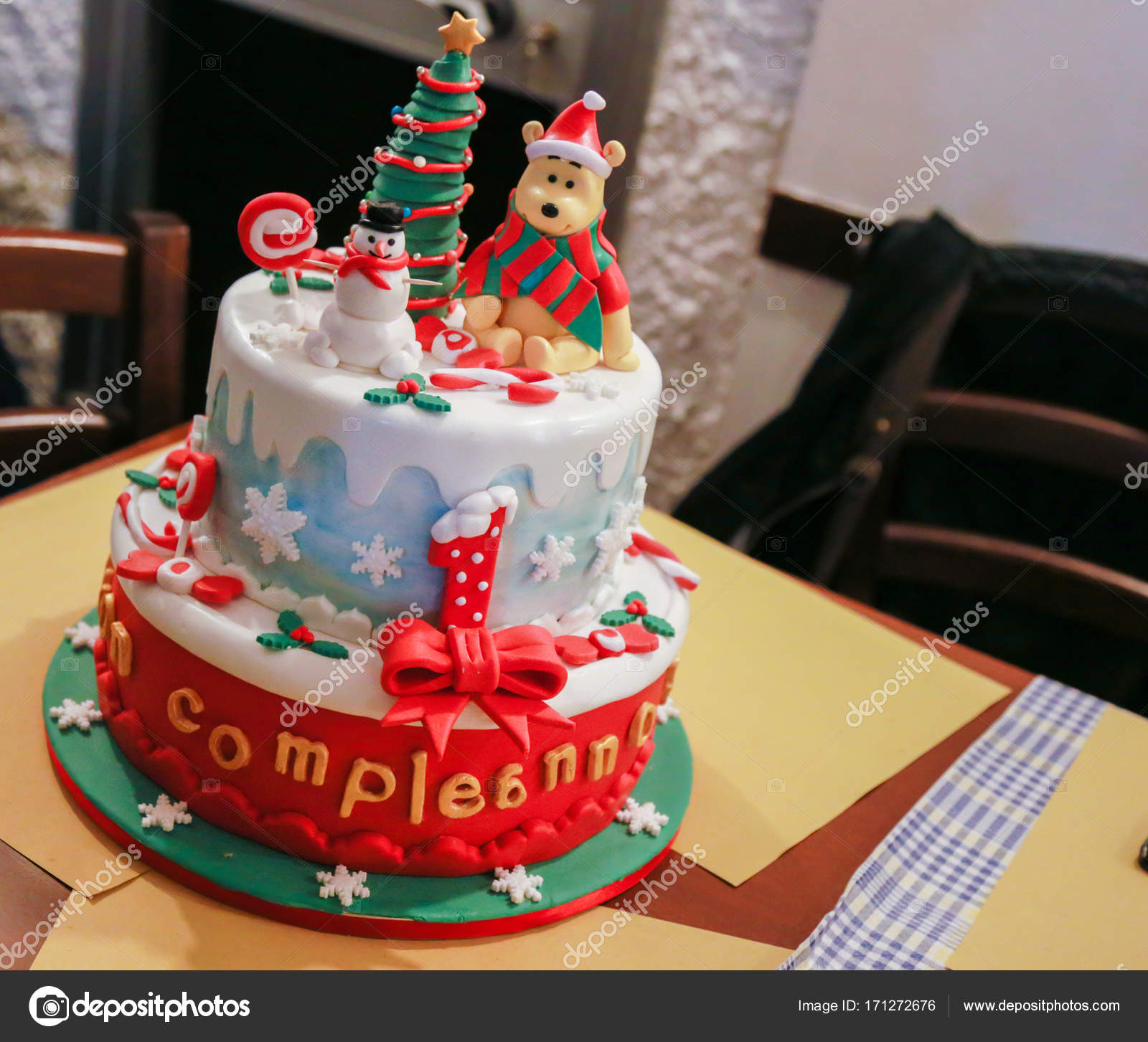Astonishing Birthday Cake For Christmas Stock Photo C Ficio74 171272676 Personalised Birthday Cards Veneteletsinfo