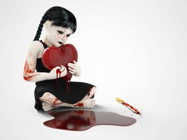 3D rendering of a blood covered small girl holding bleeding hear