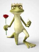rendering 3D del principe ranocchio cartone animato romantico proponendo.