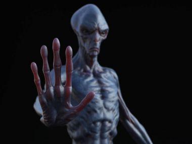 3D rendering of an alien creature.