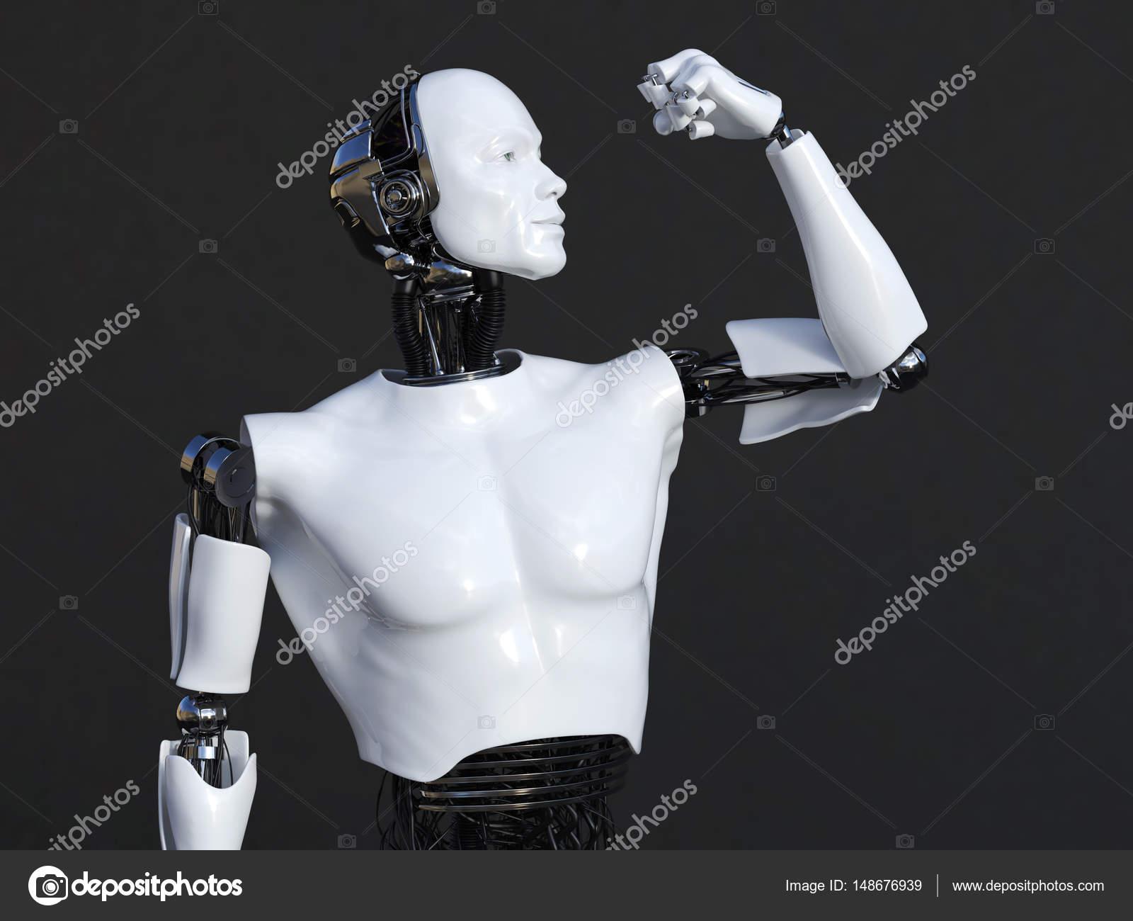 3D-Rendering des männlichen Roboter biegen seine Bizeps Muskel ...