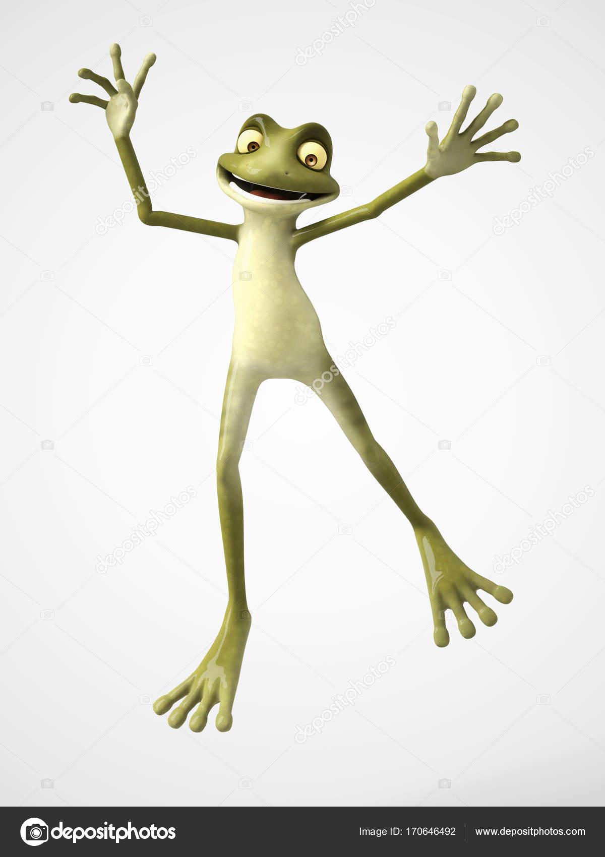 3d Rendering Cartoon Frosch Springen Vor Freude Stockfoto Sarah5