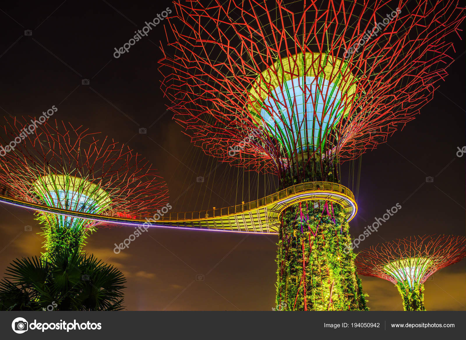 Singapore Night Skyline at Gardens by the Bay. SuperTree Grove ...