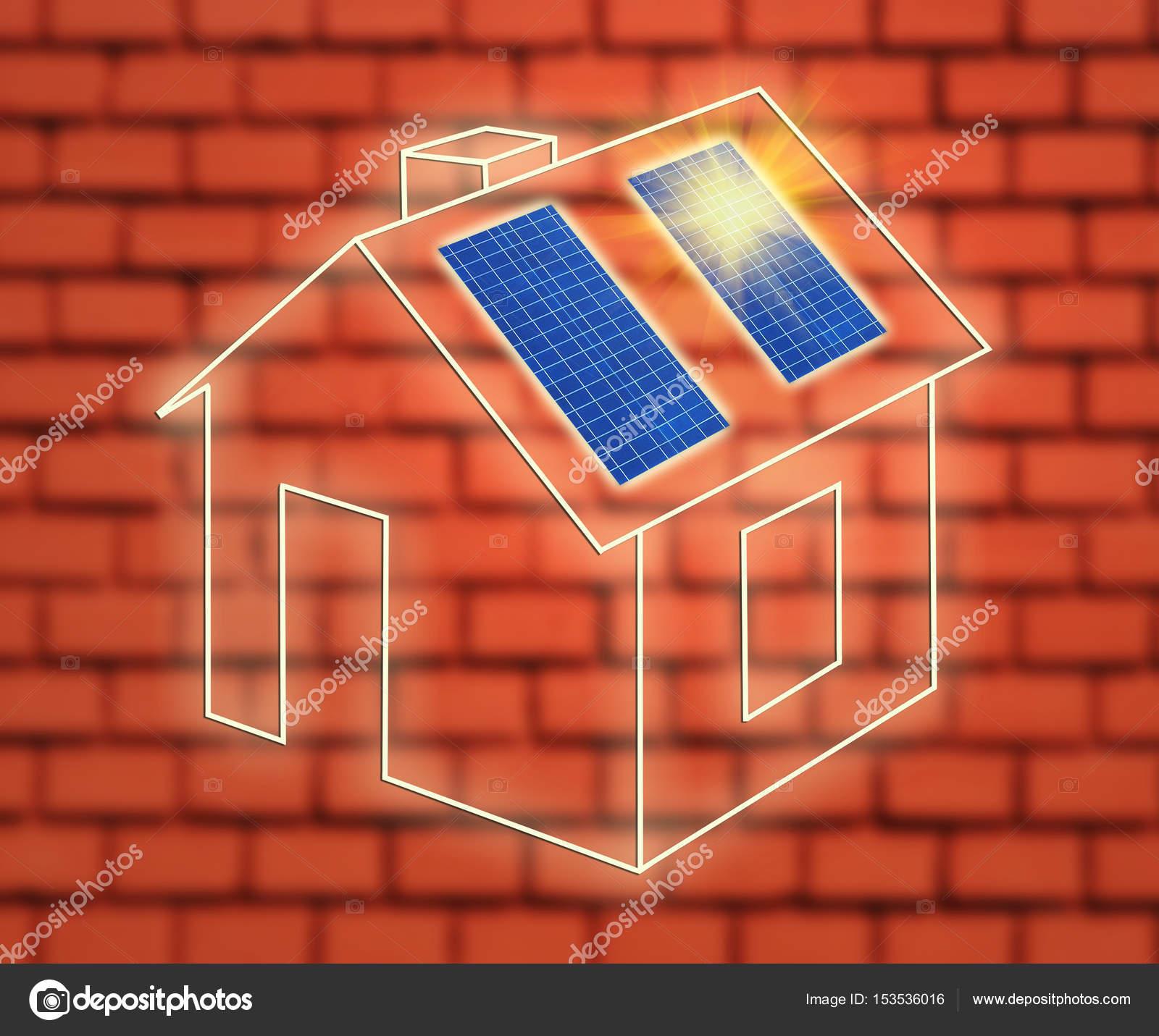 Casa de marco con paneles solares contra la pared de ladrillo — Foto ...