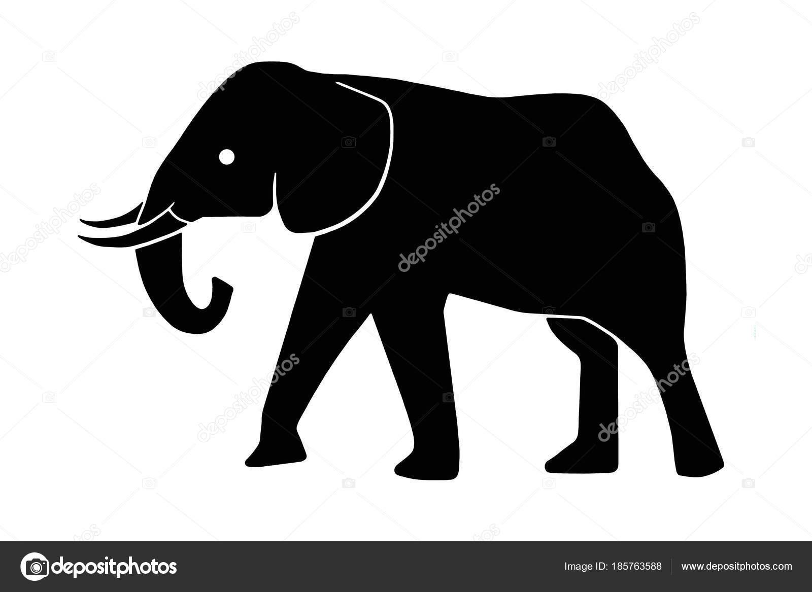 Eine Elefanten Silhouette Als Clipart Für Signage Schwarz Auf Weiß