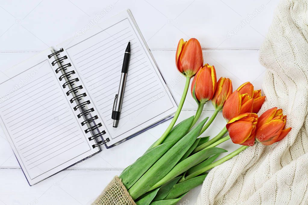 Tulips and Open Book