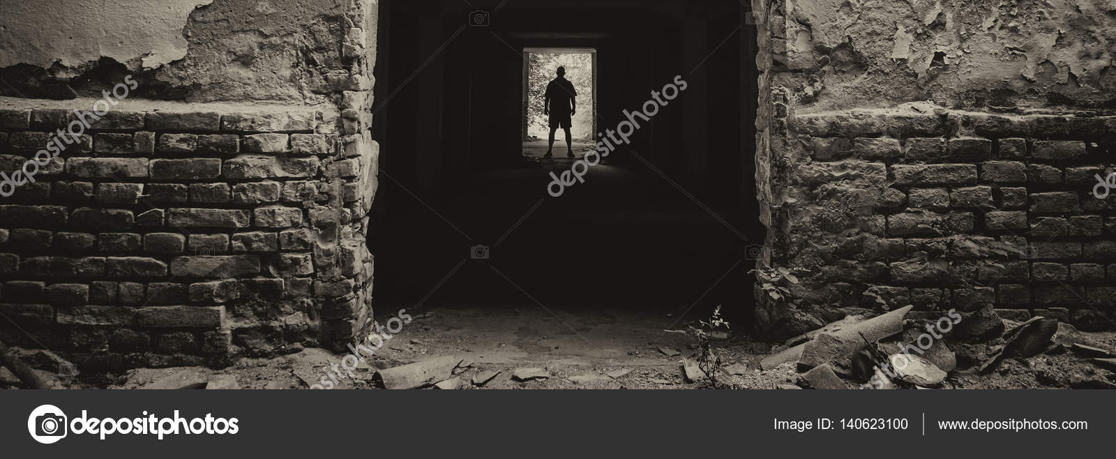Silhouette Of The Man Standing At The End Of Dark Corridor Of Abandoned Building Stock Photo C Solidphotos 140623100