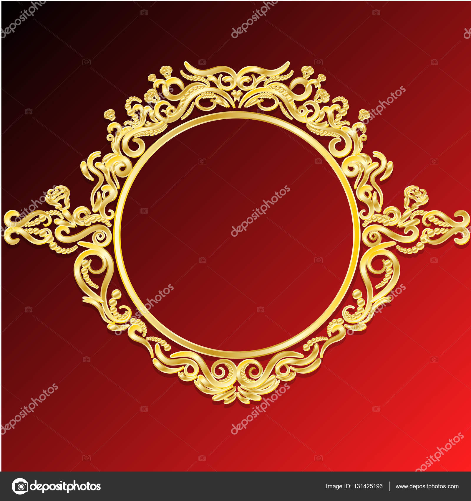 Vector Decorative Frames Retro Vector Gold Frame On Red Background