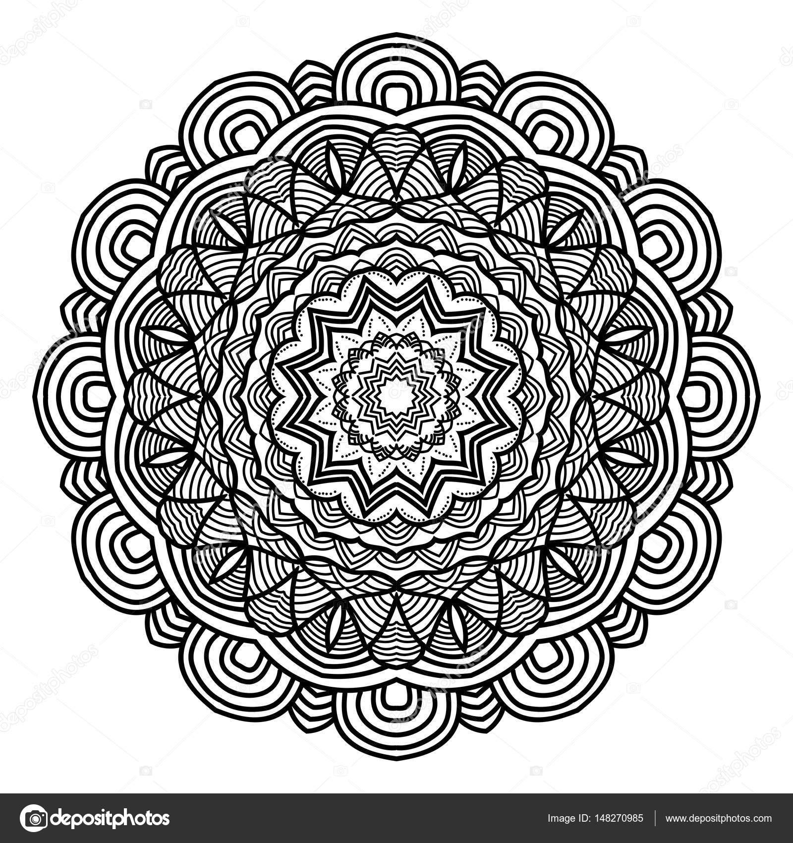 çiçek Mandala Vintage Dekoratif öğeler Vektör çizim Osmanlı