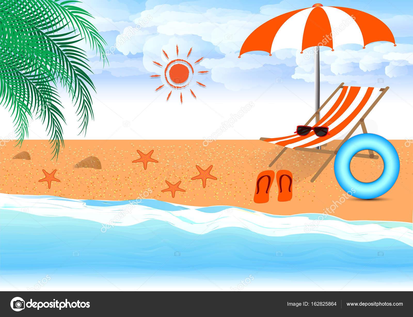 Disegni Di Spiaggia E Ombrelloni.Disegno Di Vettore Di Estate Spiaggia In Riva Al Mare Con Ombrellone