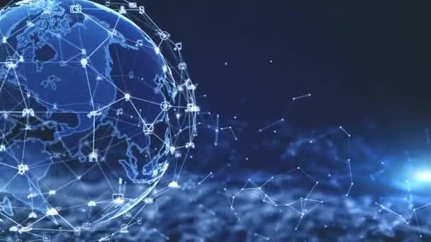 Síťové datové připojení technologie, koncepce digitální sítě a kybernetické bezpečnosti. Zemský prvek zařízený NASA.