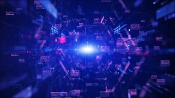 4K Digital Cyberspace und Digital Data Network Connections Konzept. Übertragung digitaler Daten Hallo-Speed-Internet, Bewegungstechnologie digitaler Hintergrund.
