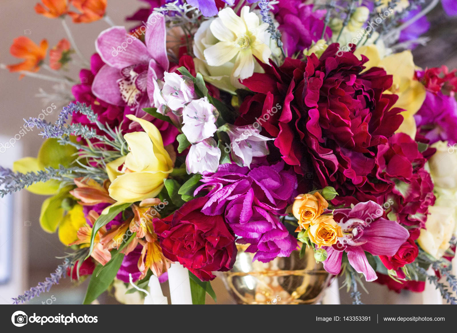 Beautiful bouquet of different flowers stock photo tae 143353391 beautiful bouquet made of different flowers rose lily orchid wildflowers photo by tae izmirmasajfo Gallery