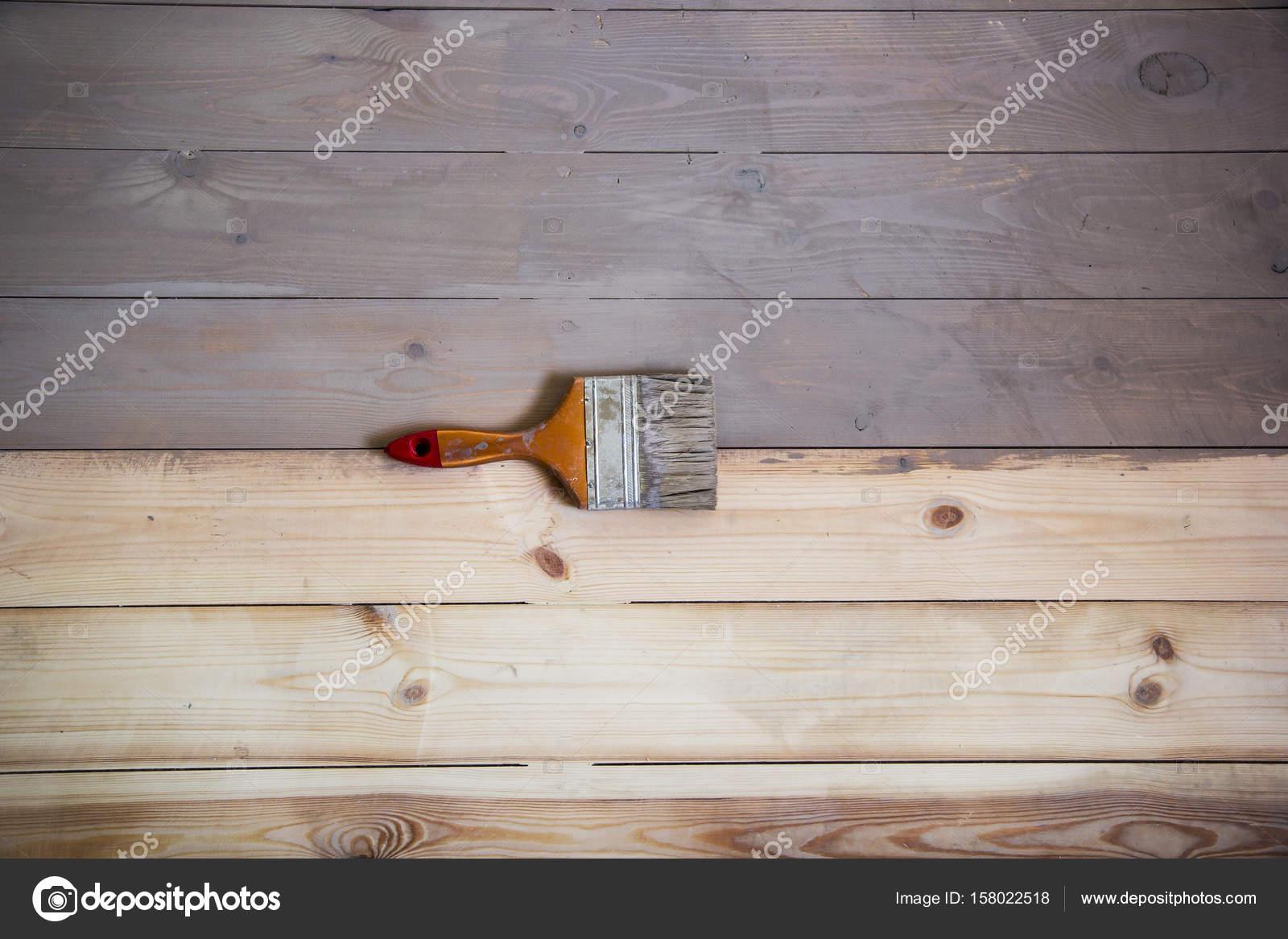 Holzboden Mit Grauer Farbe Und Einem Pinsel Auf Den Boden Gemalt