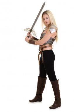 warrior woman using two handed sword