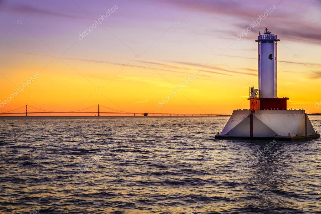 lighthouse and the Mackinac Bridge