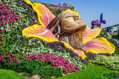 beautiful miracle Garden at sunny day, Dubai, UAE