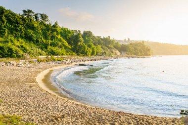 Empty beach in early morning sunlight in Varna, Bulgaria stock vector