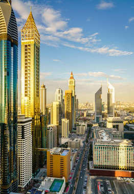 High point view of Dubai Financial District skyline in the evening
