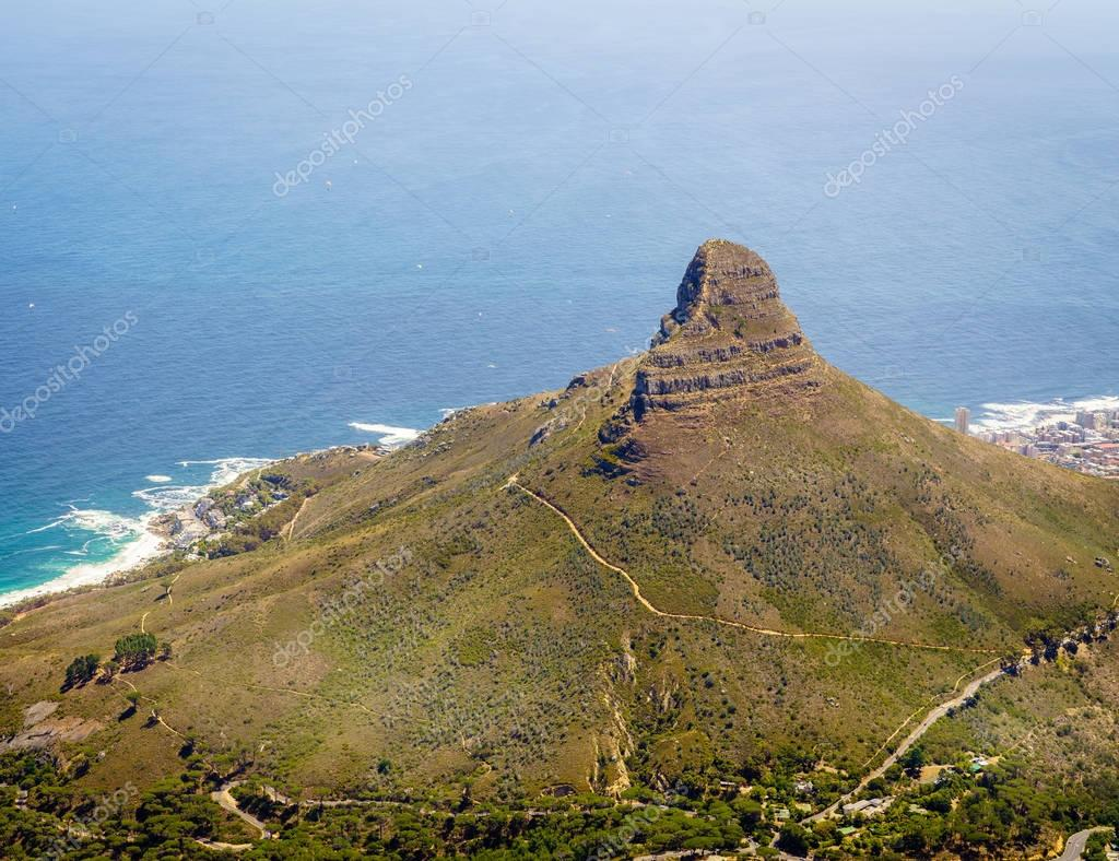 View of Lion's Head Mountain from Table Mountain in Cape Town, South Africa