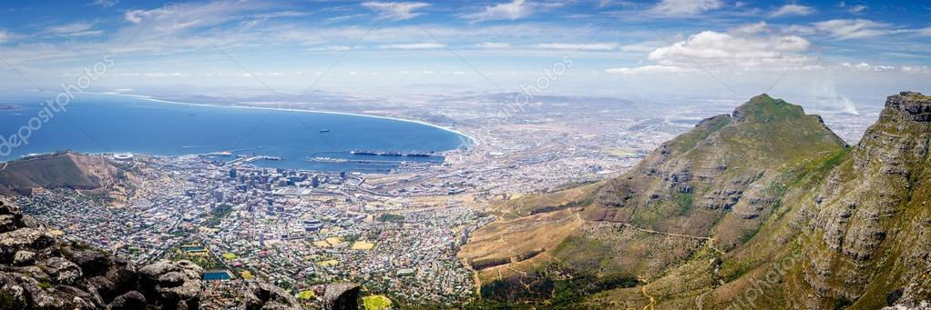 Panoramic view of the city of Cape Town the Atlantic coast from Table Mountain